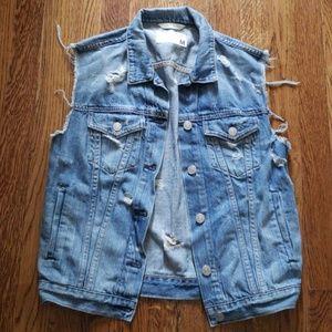 Rag and Bone/Jean Distressed Denim Jacket Vest